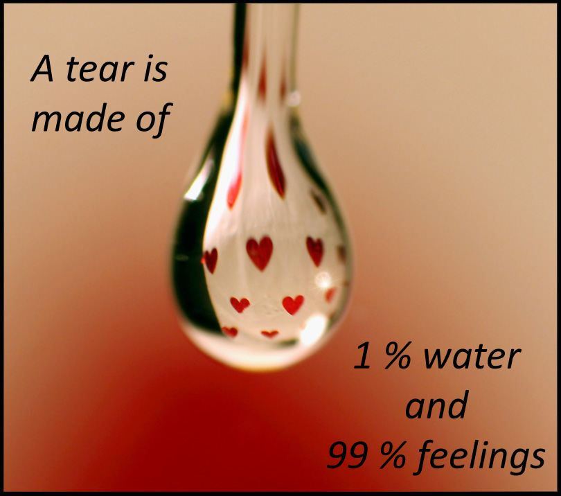 A tear is made of 1 % water and 99 % feelings  Wisdom Feelings Tears Quote